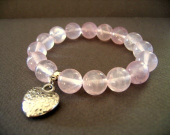 ROSE QUARTZ Round Beads Bracelet with Silver HEART Dangle Stretch