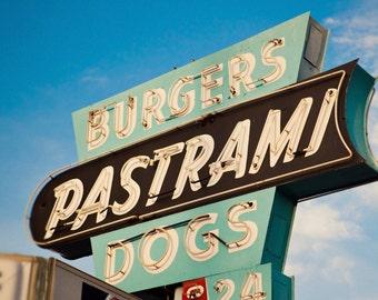 Johnny's Pastrami Neon Sign - Los Angeles Art - Retro Kitchen Decor - Vintage Drive In - Burgers Pastrami - Fine Art Photography