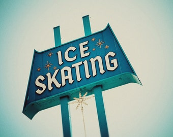 Vintage Ice Skating Rink Los Angeles Sign - Culver Ice Arena - Mid Century Modern - Retro Holiday Home Decor - Fine Art Photography