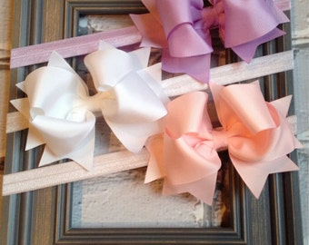 Boutique Baby Girls Set of 3 White Light Purple Pink Large Hair Bow on Elastic Headband..Perfect for Photo Props Spring Easter