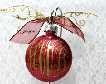 Personalized Christmas ornament - Monogrammed Ornament - Glitter Monogram Ornament - Gift for Mom -  Gift for Grandma