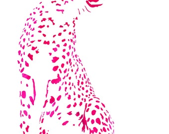 Pair of Facing Cheetahs in Pink