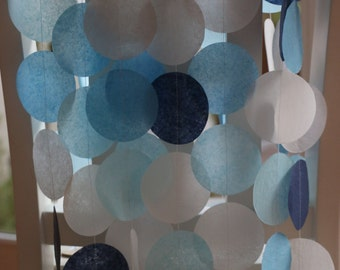 Tissue Paper Garland, Paper Garland, Party Garland, Birthday Garland, Wedding Garland, Photo Backdrop- Navy and Light Blues