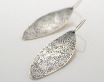Hammered Sterling Silver Ellipse Earrings - Textured Silver - Oxidized Earrings