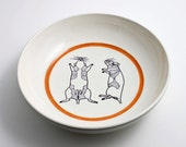 White Bowl with Orange Stripe and Rat Anatomy Diagram