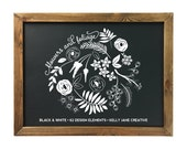 Hand Drawn Flowers & Foliage Clipart for chalkboard designs, blog graphics, invitations, wall art and more Includes 62 PNG, 2 EPS