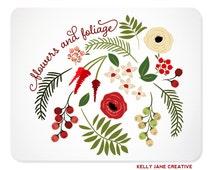 Christmas Flowers & Foliage Clip Art - Blog Graphics - Instant Download