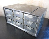 Akro. Vtg plastic storage compartment cabinet / nine trays / Akro-Mills / gold gray swirl / craft garage tool supply organization house