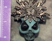 Key holder Key keeper scull with headress polymer clay functional art