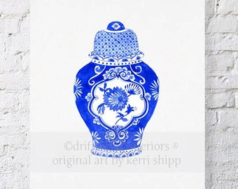 Ginger Jar in Cobalt Print