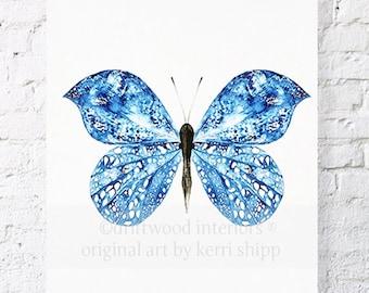Shibori Butterfly in Denim Blue Print 11x14 - Blue and White Wall Art - Watercolour Print - Shibori Watercolor