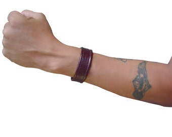 Mens Leather Cuff Narrow Oxblood Leather, Soft  Mahogany Leather, only one 7.5 wrist