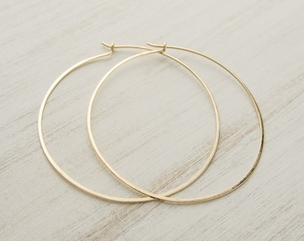 Extra Large Yellow Filled Gold Hoops, Hammered Wire, Simple Hoop Earrings, Trendy Hoops, Fashion Jewelry, Edgy Look, Hand Made, Gift, EAR007