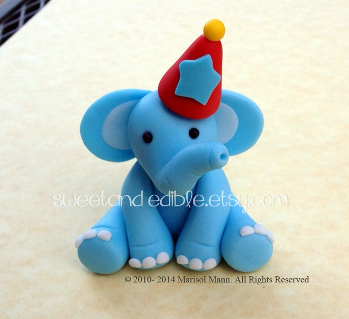 Edible Elephant Cake Decorations : CIRCUS ELEPHANT 3D figure. Edible Cake Topper by ...