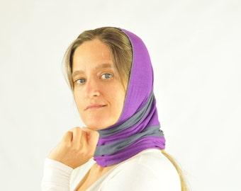 SALE Cowl - Hood - Scarf - Snood - Repurposed - Organic Clothing - Eco Friendly - Purple Gray