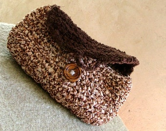 Upcycled fabric crochet purse in brown tones with vintage wooden round button