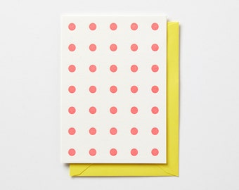 Pink Polka Dots, folded letterpress note card