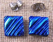 "Tiny Dichroic Post Stud Earrings - 1/4"" 7mm 8mm - Medium Blue Turquoise Teal Waves Ripples Fused Glass Studs"