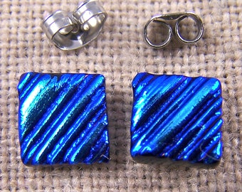 "Tiny Dichroic Post Stud Earrings - 1/4"" 7mm 8mm - Medium Blue Turquoise Teal Waves Ripples Fused Glass Studs"