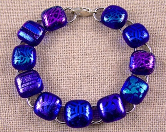 """Dichroic Bracelet - Sapphire Navy Blue Purple Violet Teal & Magenta Pink Clear Patterned Dichro Fused Glass 1/2"""" 12mm Links"""