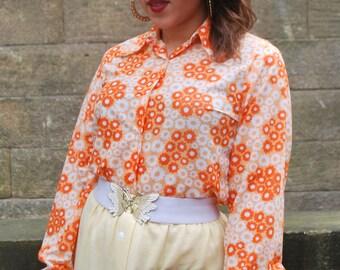 Original 1960s Vintage Orange Flower Power Shirt Size 12/14