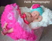Crochet Baby Hat - Girls Hat - Toddler Hat - Spring Hat - Newborn Hat - Aqua Blue with Hot Pink Flower - in sizes Newborn to 3 Years