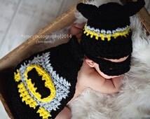 Batman baby  Set--newborn Photo Prop-- crochet