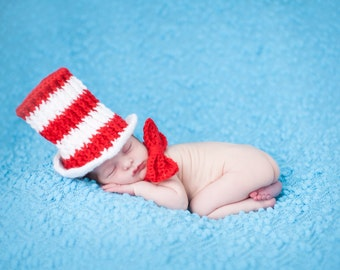 Cat in the Hat newborn photo baby prop hat and bow tie set