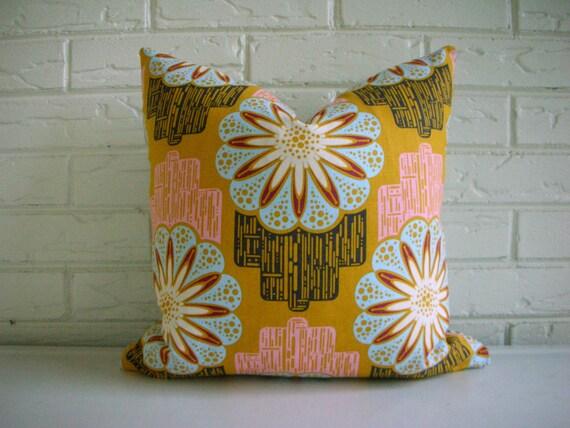 Mustard Bohemian Pillow Cover - Decorative Throw Cushion - Ticking Jute Webbing - Fall Decor