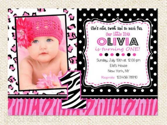 Little Diva Zebra Birthday Invitations