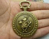 2pcs 44x65mm-33mm Antique Bronze Huge Mr. Rabbit Jazz Alice Base setting Locket Watch Charm Pendant c6560