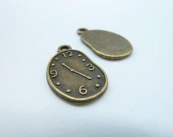 15pcs 13x22mm Antique Bronze Clock Irregular Oval Charm Pendant c249