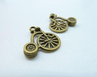 20pcs 17x17mm Antique Bronze Mini Bike Charm Pendant c1378