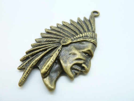 5pcs 30x55mm Antique Bronze  Huge Emirates Indian Tribe Chief  Head Charm Pendant C696