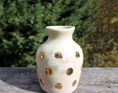 Gold Spots on Celadon Bud Vase (in stock and ready to ship)