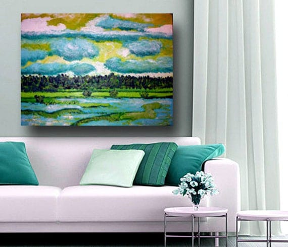 Original Impressionism Landscape Painting, Abstract LandscapeArt, 18x24, green and blue wall art, original landscape, landscape painting