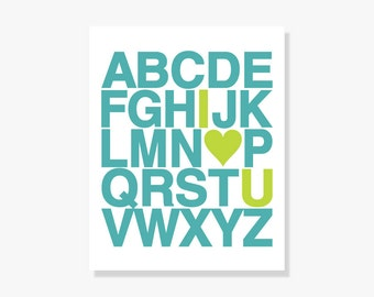 "Nursery Art Alphabet Poster w Heart - Custom Childrens Art Turquoise Lime Green - Typographic Print Digital Print Poster //  5x7"" - 24x36"""