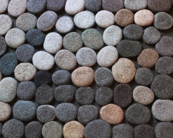 Hand made Rug. Wool Felt Pebbles. Multi color. Gray shades . Size 55 x 23,5 inches . Made to order.