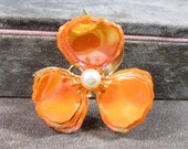 Vintage Enamel Flower Brooch Pin, Orange Iridescent, Pearl Center