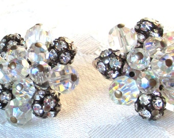Unusual Vintage Crystal and Swarovski Rhinestone Beaded Earrings, Clear Crystal and Rhinestone Earrings