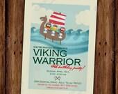 Viking Birthday Invitation - Viking Warrior Boat on Waves with Battle Ax - PRINTABLE or Printed Invitations