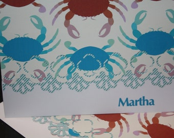 crab theme handcrafted Note Cards - personalization may be added Set of 5