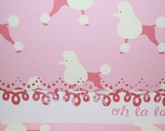 Oh la la  poodle Handcrafted Paris Note Cards