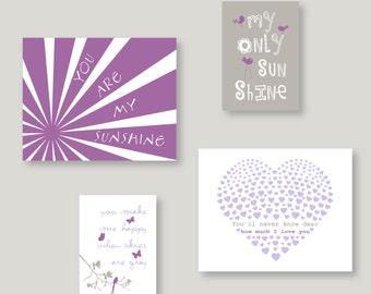 Purple Nursery Decor, You are My Sunshine kids wall art, Baby Girl Art Prints purple and gray nursery decor baby shower gift (BKNEPG-01) 057