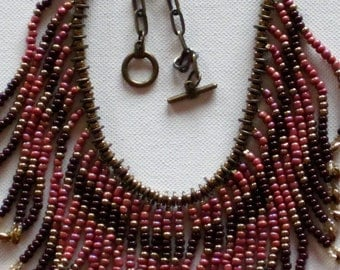 Beaded necklace, Native American Necklace, Boho necklace, Statement Necklace, Tribal Necklace