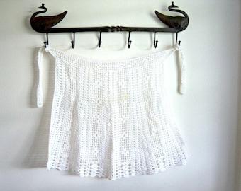 On Sale Vintage Handmade White Crochet Apron Small Home Decor New Orleans Vintage Shop Vintage Fashion Holiday Retro Vintage
