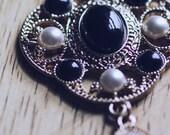 Edwardian Style Pearl and Black Gem Dangle Earrings