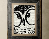 Owl(Version 2) - Printed on a Vintage Dictionary, 8X10, dictionary art, paper art, illustration art, collage