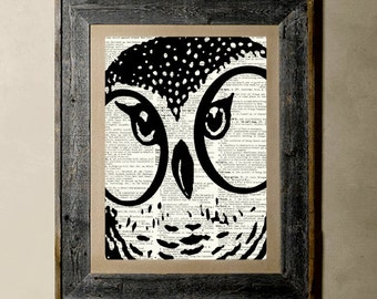 Buy 1 get 1 Free - Owl(Version 2) - Printed on a Vintage Dictionary, 8X10, dictionary art, paper art, illustration art, collage