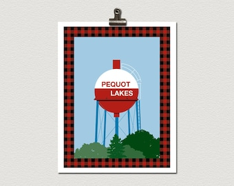 Fish Bobber Water Tower Pequot Lakes Minnesota Roadside Attraction Travel Poster Print
